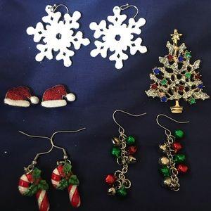 Jewelry - Christmas Earrings (4 pair), Christmas Tree Brooch